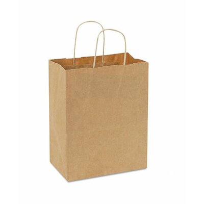 "BAGCO™ 10.25"" x 8"" x 4.5"" Handled Shopping Bags in Natural"