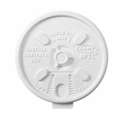 DART® Lift Lock Plastic Hot Cup Lids in White Fits 6-10 oz Cups
