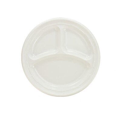 "DART® 9"" 3 Compartments Plastic Round Plates 125/Pack in White"