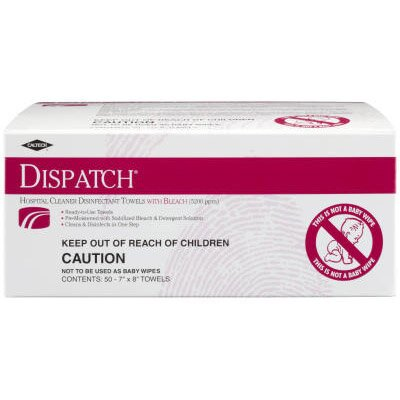 "DISPATCH® 7"" x 8"" 50/Box Individual Hospital Cleaner Disinfectant Towels with Bleach"
