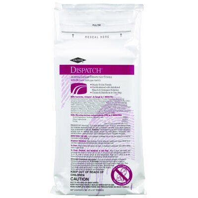 DISPATCH® Hospital Cleaner Disinfectant Resealable Soft Towels with Bleach Pack of 60