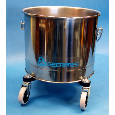 "Geerpres® Stainless Steel 5 Gallon Round Mop Bucket with 2"" Casters"