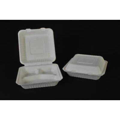 SCT® ChampWare 3 Compartment Molded-Fiber Clamshells in White