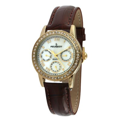Women's Swarovski Elements Multi Function Watch with Brown Leather Strap in Gold Tone