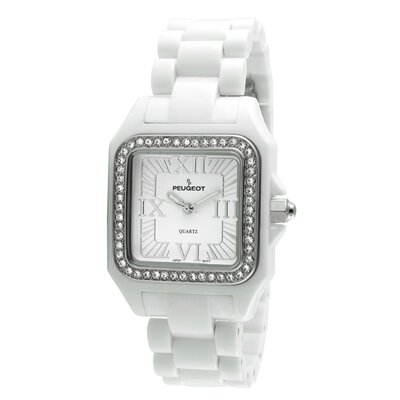 Peugeot Women's Swarovski Elements Bezel Watch in White Acrylic