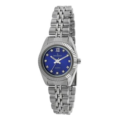 Women's Crystal Marker Ribbed Bezel Bracelet Watch with Silver Blue Dial