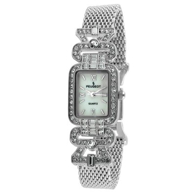 Crystal Bezel Mesh Bracelet Watch in Silver Tone
