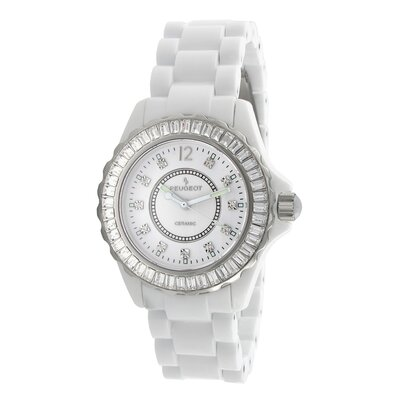 Women's Swiss Ceramic Swarovski Elements Dial Watch in White