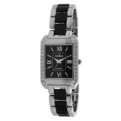 Crystal Accented Rectangular Silver-Tone Acrylic Link Watch
