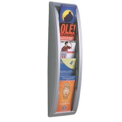 Paperflow 1/3 Letter Quick Fit Systems Literature Display with Five Pockets in Silver
