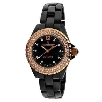 Women's Swarovski Crystal Dial Watch in Black