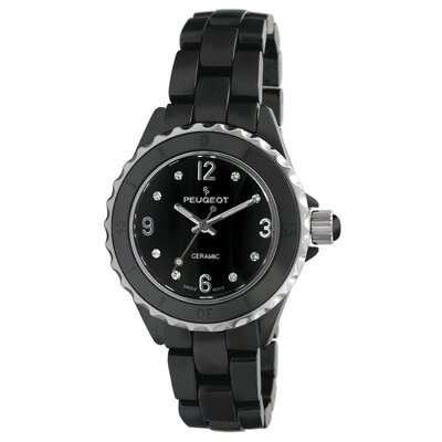 Women's Swarovski Crystal White Dial Watch in Black