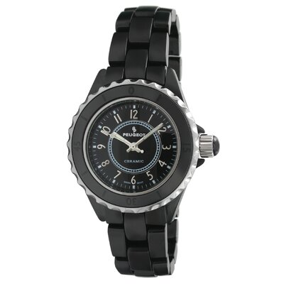 Peugeot Swiss Women's Sport Bezel Dial Watch in Black