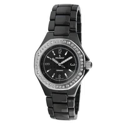 Women's Ceramic Swarovski Crystal Dial Watch in Black with Silver Tone Hands