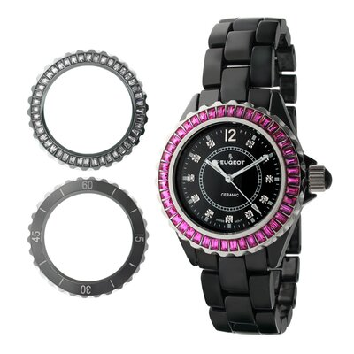 Peugeot Swiss Women's Ceramic Interchangeable Bezel Set Watch