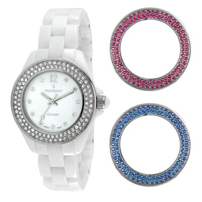 Women's Ceramic Bezel Set Watch in White
