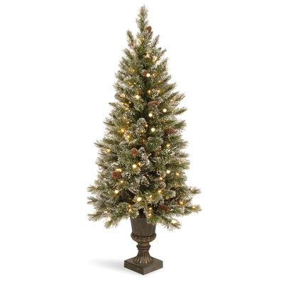 National Tree Co. Glittery Bristle Pine 5' Green Pine Entrance Artificial Christmas Tree with ...