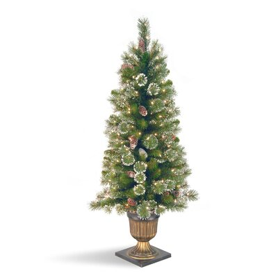 Glittery Pine 4' Green Entrance Artificial Christmas Tree with 100 Pre-Lit Clear Lights with ...