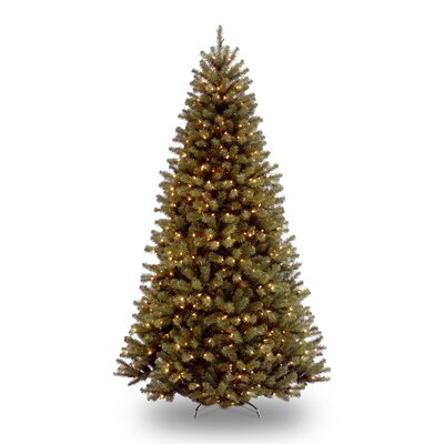National Tree Co. North Valley 7.5' Green Spruce Artificial Christmas Tree with Clear Lights with Stand