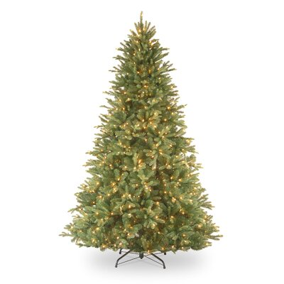 National Tree Co. Tiffany Fir 7.5' Green Artificial Christmas Tree with 750 Pre-Lit Clear ...