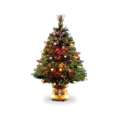 National Tree Co. Fiber Optic Ice 4' Green Artificial Christmas Tree with Multi-Colored Lights with Base