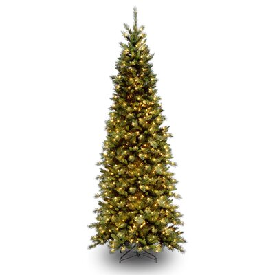 National Tree Co. Tiffany Fir 9' Green Slim Artificial Christmas Tree with 700 Pre-Lit Clear ...