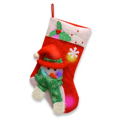 National Tree Co. Pre-Lit Cotton Stocking with Snowman Body