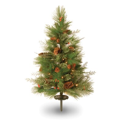 "National Tree Co. White Pine 2' 6"" Green Pathway Artificial Christmas Tree with 63 Soft White and Red LED Lights"