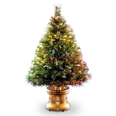 Fiber Optic Ice 4' Green Artificial Christmas Tree with Multi-Color Lights with Base