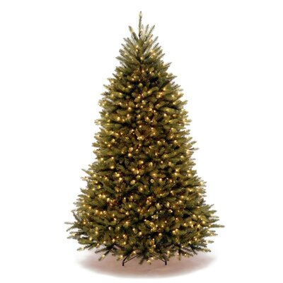 National Tree Co. Dunhill Fir 7.5' Green Hinged Artificial Christmas Tree with 750 Soft White ...
