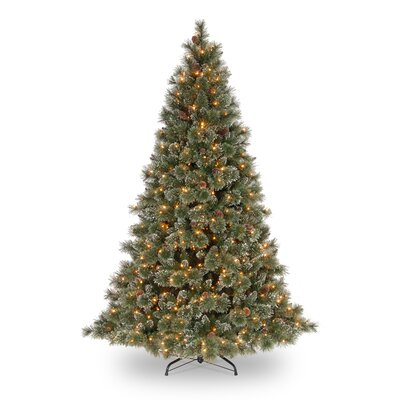 National Tree Co. Glittery Bristle Pine 7.5' Green Artificial Christmas Tree with 750 Pre-Lit Clear Lights with Stand