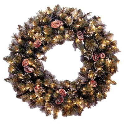 "<strong>National Tree Co.</strong> Glittery Bristle Pine Pre-Lit 24"" Wreath"