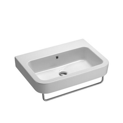 Traccia Modern Curved Wall Hung Bathroom Sink with Overflow - GSI 693211