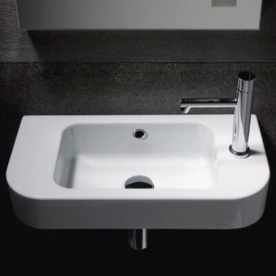 Traccia Modern Curved Wall Hung Bathroom Sink - GSI 694711
