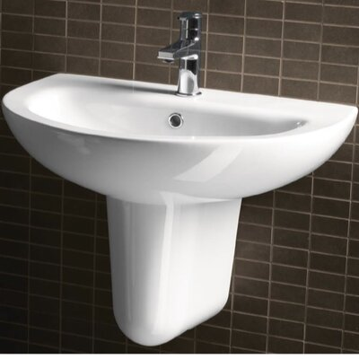 City Modern Curved Wall Hung Half Pedestal Bathroom Sink - GSI MCITY3013