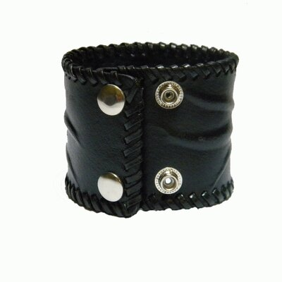 Obsessed Black Tribal Leather Bracelet with Center Turquoise Look