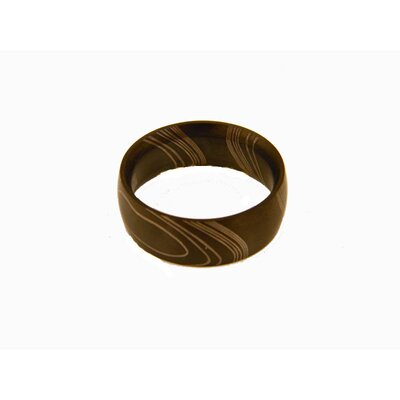 Stainless Steel Men's Black Wood Grain Etched Ring