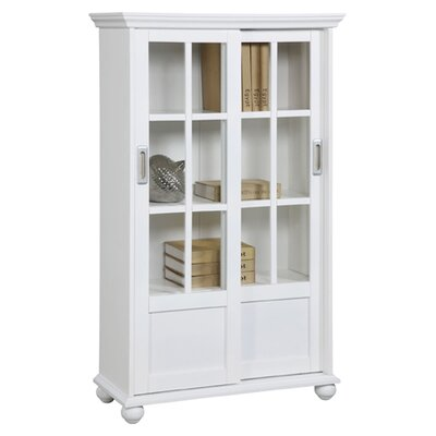 Altra Furniture Altra Bookcase with Sliding Glass Doors in High Gloss White