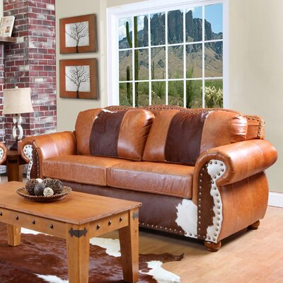 Verona Furniture Rawhide Grain Leather Sofa