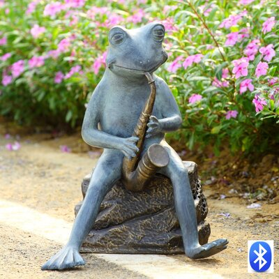 Frog Bluesman with Bluetooth Speaker Garden Sculpture