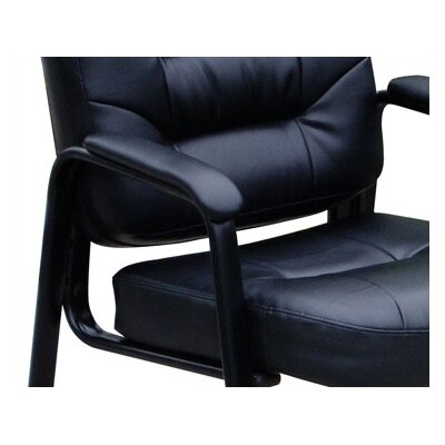 Boss Office Products Leather Guest Chair with Polished Steel Legs