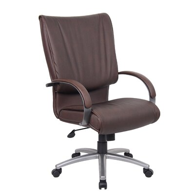 Boss Office Products Mid-Back Leatherplus Executive Chair with Arms