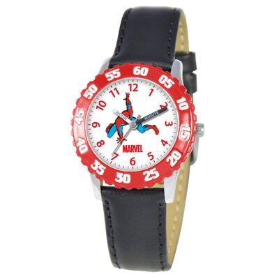 Kid's Spider-Man Time Teacher Watch in Black with Red Bezel