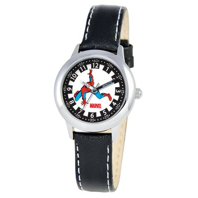Kid's Spider-Man Time Teacher Watch in Black Leather