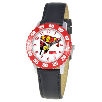 Kid's Iron Man Time Time Teacher Watch in Black with Red Bezel