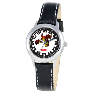 Marvel Kid's Iron Man Time Time Teacher Watch in Black Leather