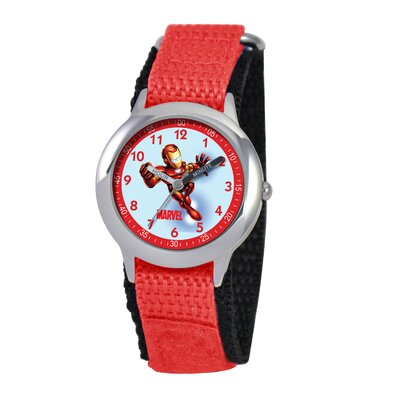 Kid's Iron Man Time Time Teacher Velcro Watch in Red