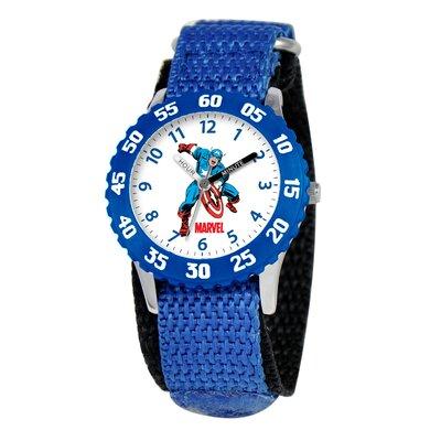 Kid's Captain America Time Teacher Velcro Watch in Blue with Blue Bezel