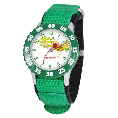 Kid's Buzzing Bees Time Teacher Velcro Watch in Green