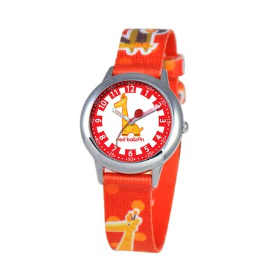 Kid's Jungle Animals Time Teacher Printed Strap Watch in Red